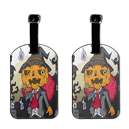 Buntes Kätzchen mit Fledermaus-Motiv, aus PU-Leder, Koffer-Etiketten-Design, für Reisen mit Sichtschutz, 2 Stück