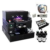 UV Printer A4 Size UV Flatbed Printer with 2500 ml UV Ink for Bottle, Phone Case, Lighter, TPU, PVC, Metal, Wood (Printer + Varnish Soft Ink)