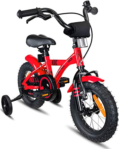 PROMETHEUS Kids bike 12 inch Boys and Girls in Red & Black with stabilisers | Aluminum Calliper brake and backpedal brake | including security package | as from 3 years | 12' BMX Edition 2018