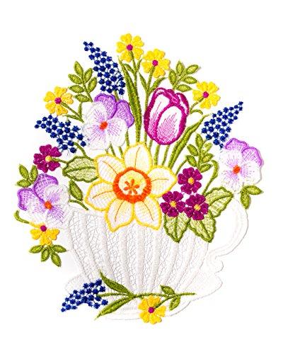 Plauener Spitze farbiges Fensterbild Blumen Frühlingsblumen HxB ca.25 x 22 cm
