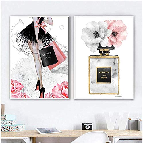 XMYC Impresión en Lienzo Fashion Girl Paris Perfume Flor Tacones Altos Carteles nórdicos Impresiones Imágenes Decoración de la Sala de Estar 2 Piezas 60x80cm sin Marco