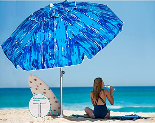 AMMSUN 7ft Beach Umbrella with Sand Anchor Portable Outdoor Patio Sun Shelter UV 50+ Protection Adjustable Height & Tilt Aluminum Pole with Carry Bag for Beach Patio Garden Outdoor Multicolor