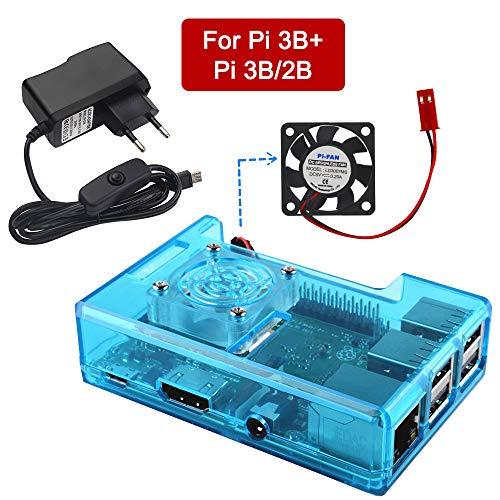 VSTON Raspberry Pi 3 B + Caja con Fuente de alimentación Ventilador 5V 2.5A ON/Off Cable de conexión para Pi 3 Modelo B + / 3 b/Pi 2B, Negro