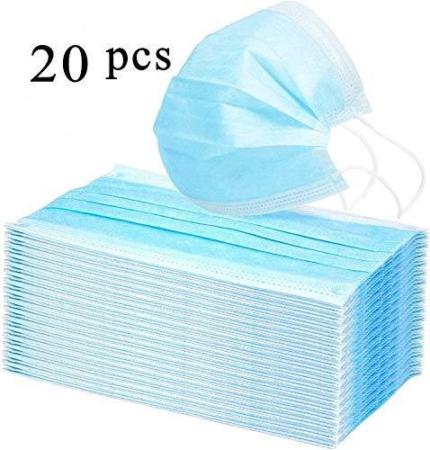 Heallily Paquete de 20 Piezas Mascarillas Desechables Higiene Dental Mascarilla Facial No Tejida 3 Capas Antipolvo Anti Bruma Cubierta Protectora Transpirable con Orejeras (Azul)
