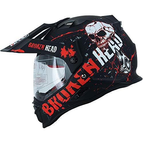 Broken Head Bone Crusher Cross-Helm Rot mit Visier - Enduro-Helm - MX Motocross Helm mit Sonnenblende - Quad-Helm (M 57-58 cm)