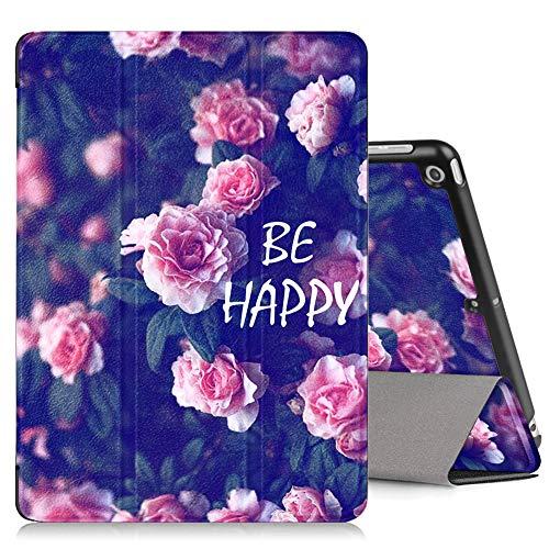 ZhuoFan Hoesje voor iPad 9.7 2018, Slim Lichtgewicht Lederen Stand Beschermende Cover met Patroon, Magnetische Adsorptie, Auto Wake/Sleep voor Apple iPad 9.7 2018 Tablet, Roze bloemen