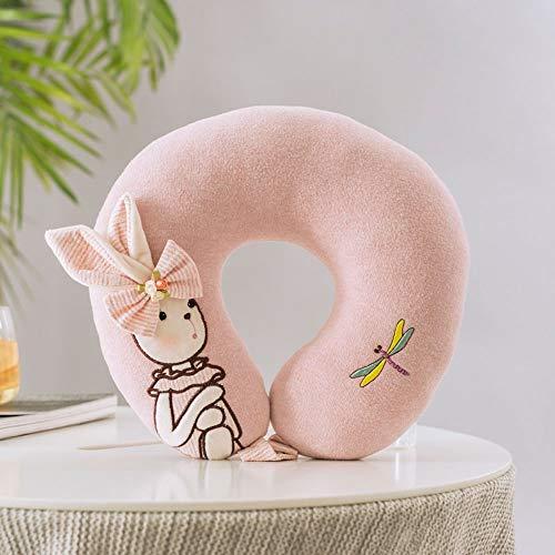 LQXZJ-Artículos de Uso doméstico, Princesa Conejo de Dibujos Animados Almohada en Forma de U Lindo Conejo niña corazón Almohada en Forma de U Coche Oficina Almuerzo Almohada Soporte diseño ergonómico