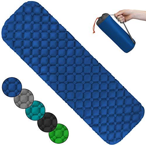 ALPIDEX Colchoneta Camping Esterilla Inflable Camping 190 x 57 x 5 cm Portatil Ligero, Color:Blue