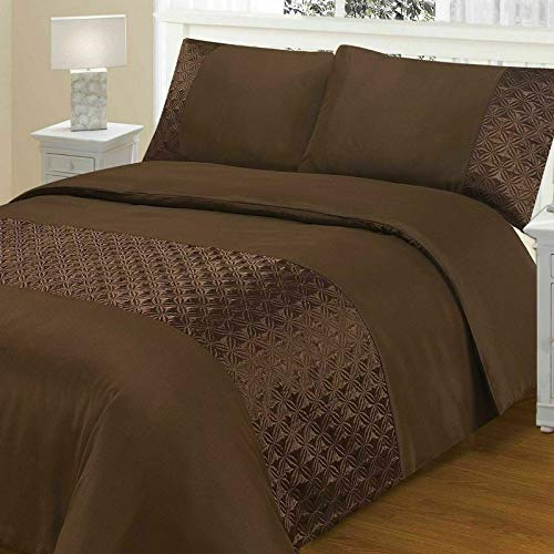 EGYPTO Duvet Cover Set with Pillow Case Microfiber Polyester Monaco Crinkle Pattern, Soft Touch (Super King Size: 1 x Duvet Cover: 220 x 260 cm Approx. 2 x Pillow Cases : 50 x 75 cm Approx, Chocolate)