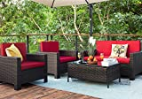 Homall 4 Pieces Outdoor Patio Furniture Sets Rattan Chair Wicker Conversation Sofa Set, Outdoor Indoor...