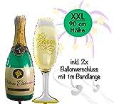 Silvester Deko 2021 XXL Party Set | über 100 Teile | XXL Zahlenluftballons 80cm Champagner & Cheers | Fotorequisiten Luftschlangen Konfetti - 2