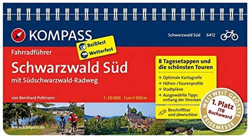 KOMPASS Fahrradführer Schwarzwald Süd mit Südschwarzwald Radweg: Fahrradführer mit Routenkarten im optimalen Maßstab.