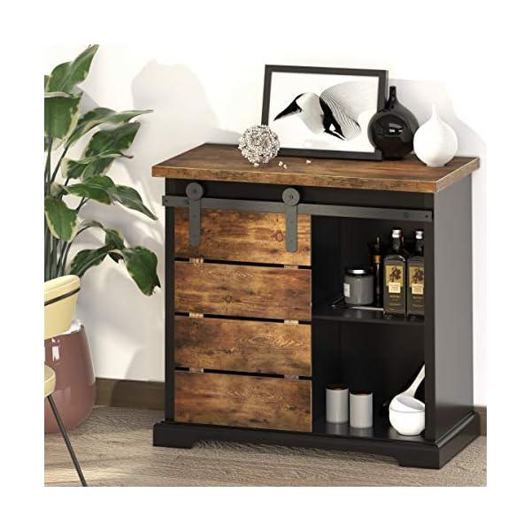 NSdirect Sideboard Buffet Storage Cabinet, Modern Farmhouse Sliding Barn Door Storage...