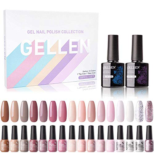 Gellen 16 Colors Gel Nail Polish Kit- With Top&Base Coats, Classic Nudes Skin Tones, Fall Winter Nail Trends