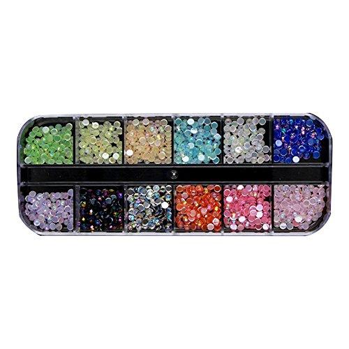 Strasssteine ??für Nageldesign, Nail Art Strass in 12 Perlen Mehrfarben-Kristalle mit flachen Rips für Nagel Dekoration DIY Nail Art (KQH537)