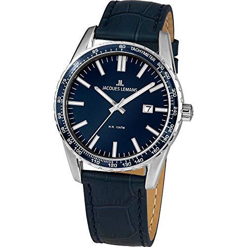 Jacques Lemans Herren-Uhren Analog Quarz One Size Blau 32016496