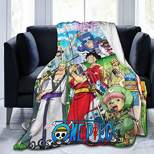 One Piece Anime Throw Blanket Microfiber Lightweight Fluffy Cozy Blanket for Couch Sofa Bed 50'X40'