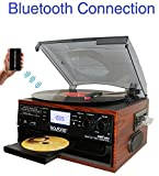 Boytone BT-22M, Bluetooth Record Player Turntable, AM/FM Radio, Cassette, CD...