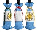 Lot de 3 housses pour bouteille de vin Motif drapeau Argentine vintage Taille unique comme sur l'image