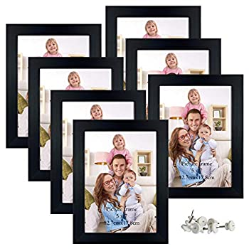 Giftgarden 5x7 Picture Frame 7 Pack Real Glass Black Frames Set for Tabletop Display or Gallery Wall