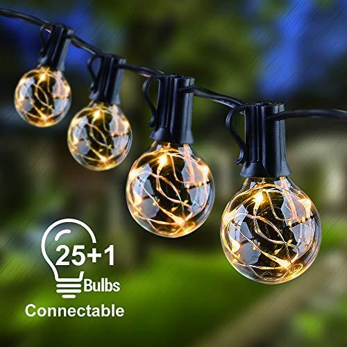KINOLA Lichterkette Außen Wasserdicht, 9,5M G40 Lichterkette Glühbirnen Garten Lichterkette mit 25 +1 Ersatzbirnen Globe Birnen, Innen/Außen für Garten, Balkon, Zimmer, Bar - Warmweißes