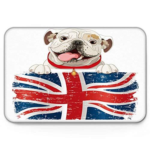 Felpudos, Funny Puppy Retro American Flag, Divertido Interior Antideslizante Tapetes de Bienvenida Mut Dirt Zapatos Scraper Mat Alfombras Alfombra 40x60cm