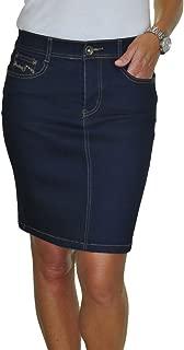 icecoolfashion Stretch Denim Jeans Skirt Sequins Detail Indigo Blue 16-20