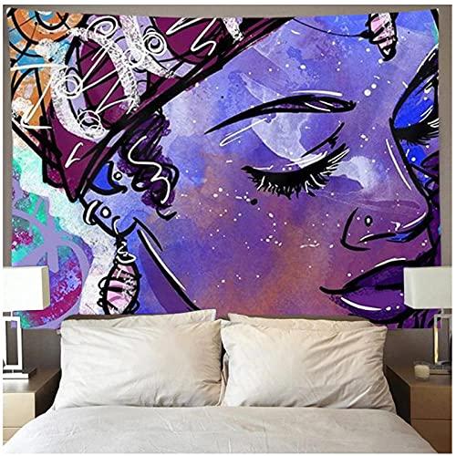 KBIASD Tapiz de Pared Blanco de Mujer Negra afroamericana para Colgar en la Pared del Arte Hippie para la decoración de la Pared del hogar 150x130cm