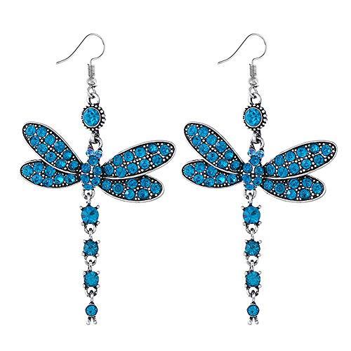 YAZILIND Vintage rhinestone libélula colgante de la gota étnica cuelgan pendientes joyas de la mujer regalo