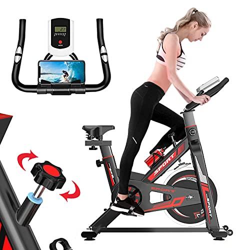 Bicicleta Estatica Resistencia Magnetica Bicicleta Spinning Indoor con Pulsómetro, Asiento Suave Ajustable , Múltiples Niveles de Resistencia y Pantalla LCD, Bici Estatica Carga Máxima 150 Kg / 330 Li