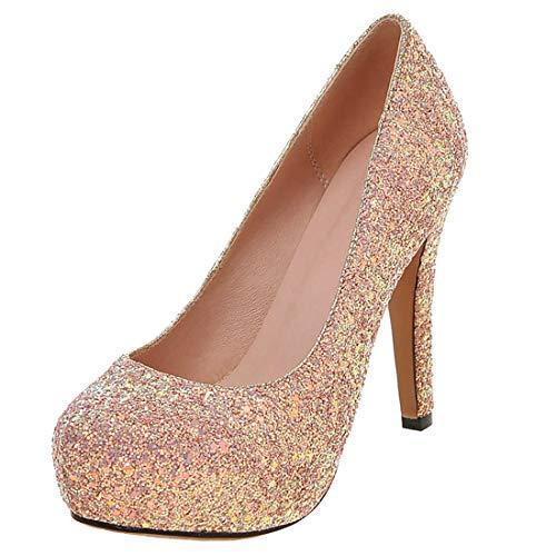 AIMODOR Damen Pailletten Pumps Glitzer Plateau Stiletto High Heels Sexy Hoher Absatz Hochzeit Schuhe rosa 37