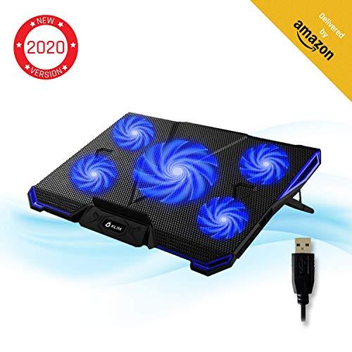 KLIM Cyclone - Base de Refrigeración para Portátil + Potente Refrigerador Portátil con 5 Ventiladores para Ordenador Gaming + Varias Inclinaciones + Soporte Estable + Azul - Nueva Versión 2019