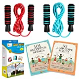 Nona Kid 2 Pack Jump Rope for Kids - Easily Adjustable with Anti-Slip Handles, Plus 2 Activity Books