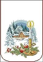 クロスステッチ刺繡キット、スノーシーズンキャビン、11CT 40X50cmDIYビギナーズアートクロスステッチ刺繡スターターキット用品針仕事家の装飾ギフト