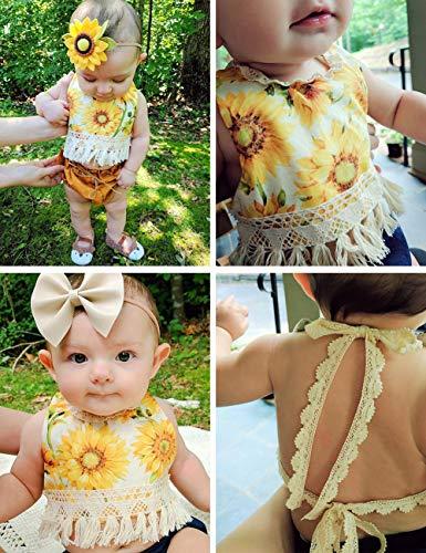 Baby Girl Clothes Sunflower Floral Backless Romper Tassel Top + Dot Short Summer Outfits Set