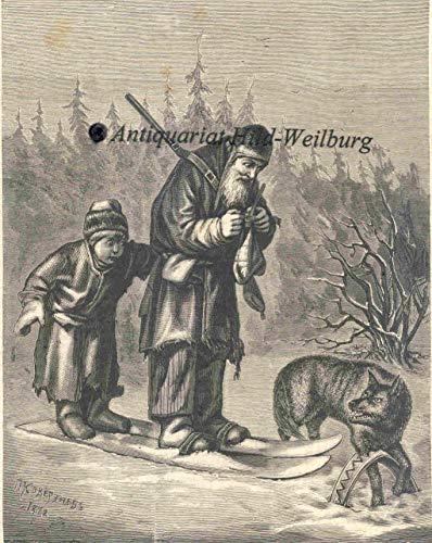Tiere - Ein Wolf in der Falle (Eisenfalle, Fuchsfalle). Alter Mann und Enkel auf Ski -Schneeschuhen- beim gefangenen Wolf. [Grafik]