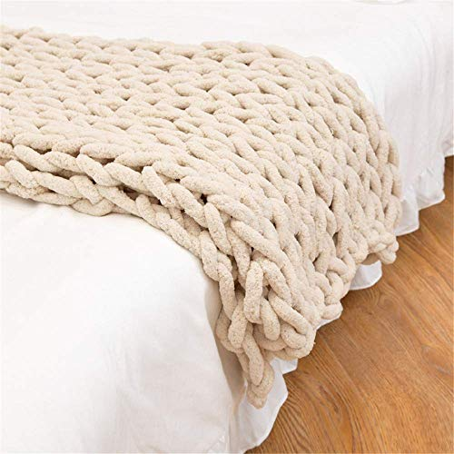 AABBC Knitted Blanket Chunky Knitted Blanket Chunky Knitted Blanket Bedspread Throw Home Decor Gift for Sofa Bedspread, beige, 80 x 100 cm/31.4x39.3in