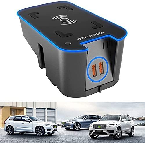 para Volvo XC90 XC60 S90 V90 V60 S60 2019 2020 Cargador Inalámbrico para Automóvil Consola Central Panel de Accesorios 15W QC3.0 Cargador de Teléfono de Carga Rápida Pad con Dos Puertos USB de 18W