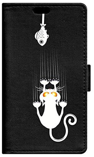 Be Cool Buch Tasche für Vodafone Smart e8- Schutzhülle mit Standfunktion, Arbeitsspeicher für tarjetes & Geldscheine, Design Kätzchen & pececito