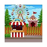 Yeele 5x5ft Cartoon Amusement Park Backdrop for Photography Circus Ferris Wheel Fairground Background Playground Carnival Fun Party Kids Children Boy Photo Booth Shoot Vinyl Studio Props