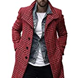 Seidarise Men's Plaid Wool Coat,Peacoat Wool Vintage Jacket Single Breasted Overcoats (XX-Large, Red)