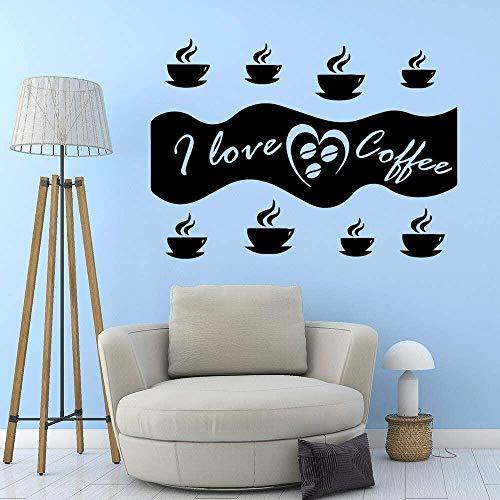 Me encanta el café vinilo autoadhesivo calcomanías de pared a prueba de agua calcomanías de pared a prueba de agua decoración de fiesta en casa papel tapiz 57x80cm