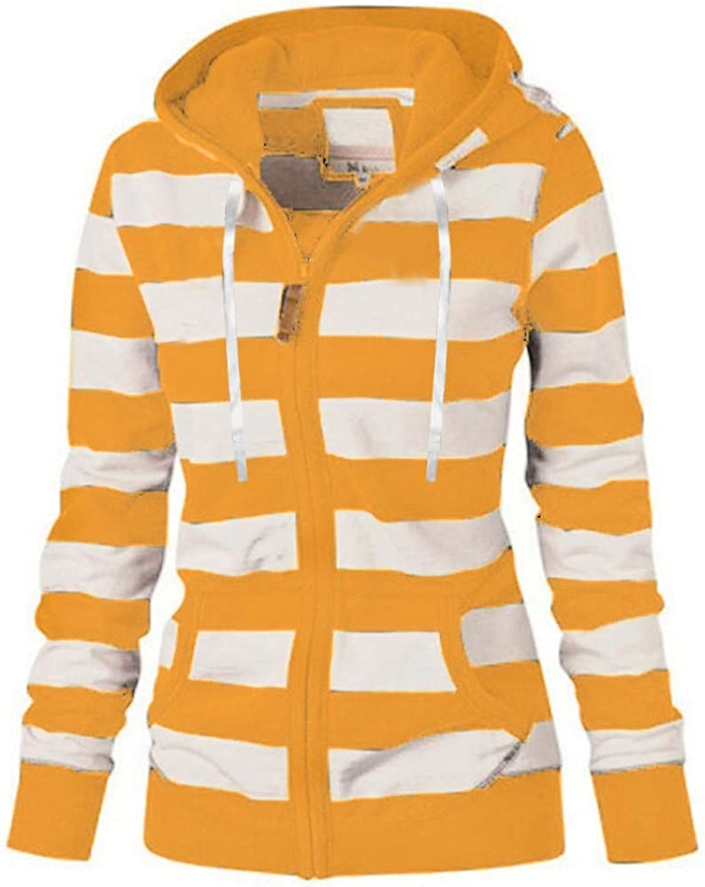 DZQUY Women Sexy Full Zipper Hoodie Hooded Jersey Sweatshirt Striped Color Block Plus Size Casual Fleece Jumper Coat Jacket