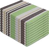 normani 10 Geschirrtücher aus Baumwolle Farbe Toffee Stripe/Grün Größe 55 x 75 cm