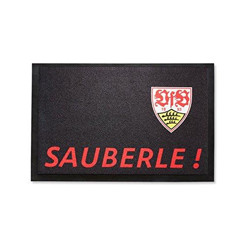 """VfB Stuttgart Fußmatte """"sauberle"""" Größe ca. 59 x 39 cm edel in Schwarz gehalten mit Wappen Design"""