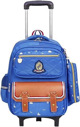BYGenMai Schultrolley Schulranzen Kinder ZWeiß r Rollen Rucksack Trolley Schultasche für Gründschüler,B