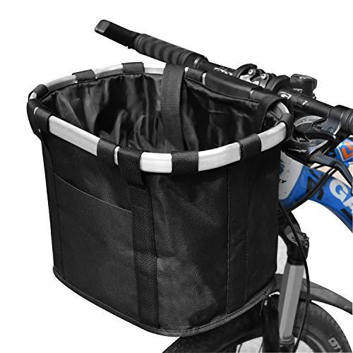 自転車かご 前カゴ 折りたたみ式カゴ 防水 サイクリング 巾着式 大容量 脱着簡単 山地車 折り畳み車 通勤車等用 黒
