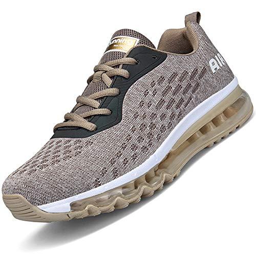 Mabove Laufschuhe Herren Turnschuhe Sportschuhe Straßenlaufschuhe Sneaker Atmungsaktiv Trainer für Running Fitness Gym Outdoor(Gold/HK78,41 EU)