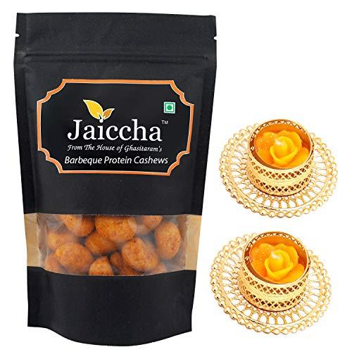 Jaiccha Ghasitaram Diwali Gifts Dryfruit - Barbeque Protein Cashews 200 GMS in Black Paper Pouch with 2 T-Lites