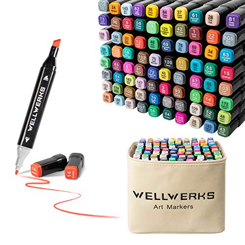 80 Colors Alcohol Markers, Wellwerks Brush & Chisel Double-Tip Drawing Markers for artists, Adults, Kids, Art Markers for Anime Design,Great Gift Idea
